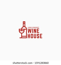 Wine house logo design template in linear style with bottle and wineglass. Vector illustration.