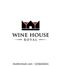 wine house royal logo concept