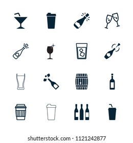 Wine icon. collection of 16 wine filled and outline icons such as champagne, opened champagne, glasses clink, drink, barrel. editable wine icons for web and mobile.