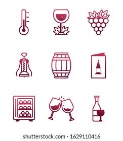Wine icon set design, Winery alcohol drink beverage restaurant and celebration theme Vector illustration
