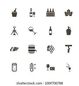 Wine icons. Perfect black pictogram on white background. Flat simple vector icon.