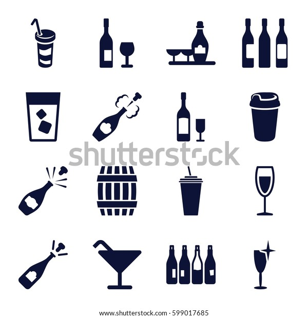 wine icons set. Set of 16 wine filled icons such as bottle, barrel, Cocktail, opened champagne, drink