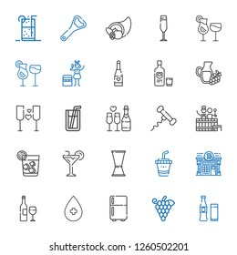 wine icons set. Collection of wine with beverage, grapes, fridge, alcohol, wine bottle, pub, drink, jigger, cocktail, vodka, barrel, corkscrew. Editable and scalable wine icons.