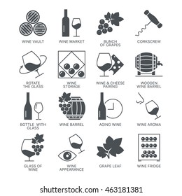 Wine icons set isolated on white background. Web graphics symbol collection. Exclusive modern vector logo concept pictogram pack.