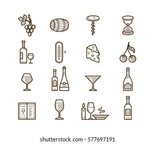 Wine icons set. Procurement and storage wine. Wine cellar rotation and tasting. Vector icons for wine labels