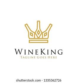 wine king logo design vector illustration. line art wine bottle icon as crown concept design. beverage logo