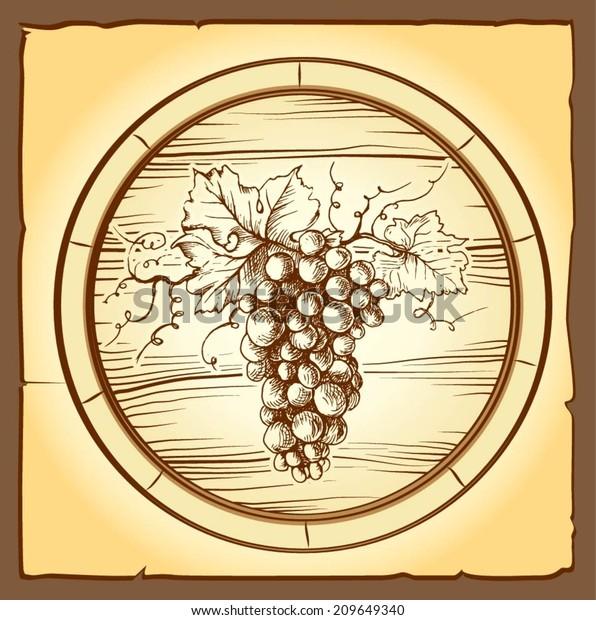 Wine Label Grape Wine Menu Oak Stock Vector (Royalty Free