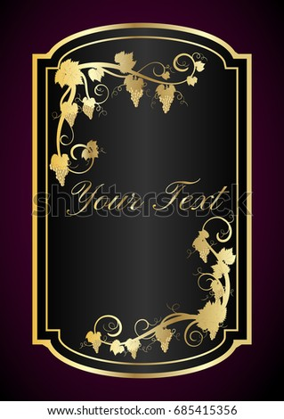 Wine Label Template | Wine Label Template Wine Black Gold Stock Vector Royalty Free