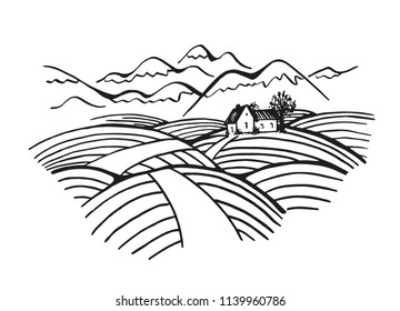 Wine label template with countryside scenery and mountains.