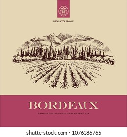 wine label, vineyard landscape hand drawn illustration