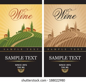 wine labels with a landscape of vineyards