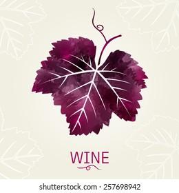 wine leaf. Illustration for label, card, menu, decoration, covers.