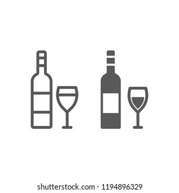 Wine line and glyph icon, alcohol and drink, glass sign, vector graphics, a linear pattern on a white background, eps 10.