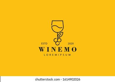 Wine line icon. Wine Grape outline logo vector. emblem design