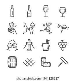Wine line icon set. Included the icons as liquor, wine, glass, bottle, barrel, ice bucket and more.