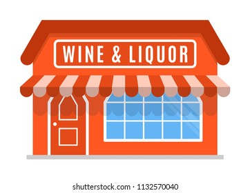 Wine liquor shop icon symbol store market. The facade of the building with awning  in flat style Sign of the house is red color. Stylish cartoon image Vector illustration isolated on white background.