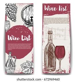 Wine list banner templates. Design elements for menu, poster, flyer. Vector illustration