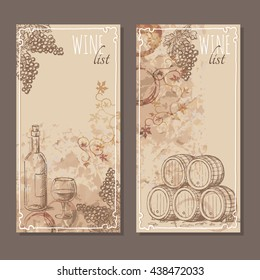 Wine list cards. Menu cards for wine collections with hand drawn sketches. Bunch of grapes, barrel and a bottle with glass of wine sketch. Vector illustration.