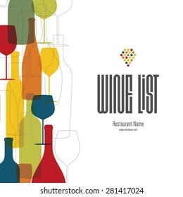 Wine list design. Vector brochure template for wine shop, winery, wine list, cafe, restaurant, bar. Food and drinks logotype symbols. Wine bottles and wine glasses. Flat design