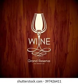 Wine list design. Vector brochure template for wine shop, winery, wine list, cafe, restaurant, bar. Food and drinks logotype symbols. Wine glasses