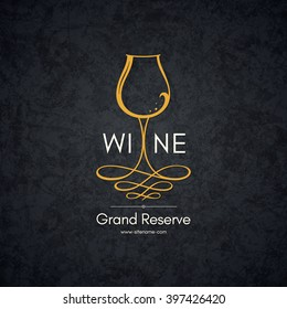 Wine list design. Vector brochure template for wine shop, winery, wine list, cafe, restaurant, bar. Food and drinks logotype symbols. Wine glasses