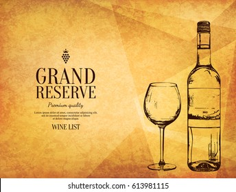 Wine list design. Vector brochure template for winery, cafe, restaurant, bar. Wine bottle and wine glass