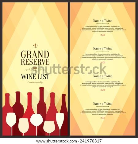 Wine List Design Vector Brochure Template Stock Vector (Royalty Free ...