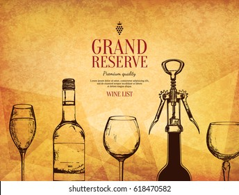 Wine list design. Vector menu brochure template for cafe, coffee house, restaurant, bar. Food and drinks logotype symbol design. With a sketch pictures