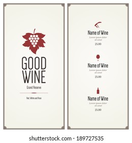 Wine list. Flat design