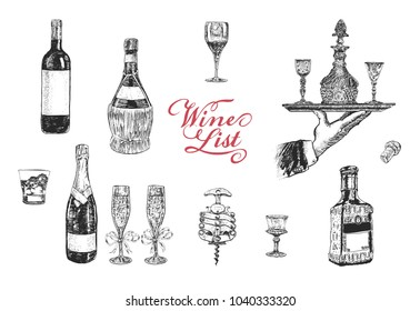 Wine list. Hand drawn vector illustration with wine bottle, champagne, glass, tequila, decanter, glass of whisky, stopper, stopper, corkscrew. Vintage engraving