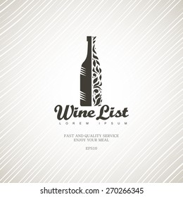 Wine list on a light background.