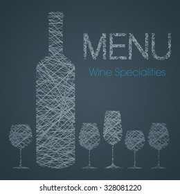 Wine list with wine specialties - blue and white edition