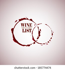 Wine list with Stain circles in red tones. Vector background.