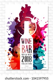 Wine list template for bar or restaurant menu design. Creative artistic background with color paint splashes and  vine bottle sihouette decoration.