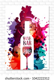 Wine list template for bar or restaurant menu design. Creative artistic background with color paint splashes and vine bottle and glass silhouettes.