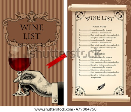 Wine List Template Retro Drawing Hand Stock Vector (Royalty Free ...