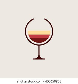 Wine logo. Alcohol icon. Red, pink, white tipes of wine in glass.  Winery brand emblem. Vector illustration.