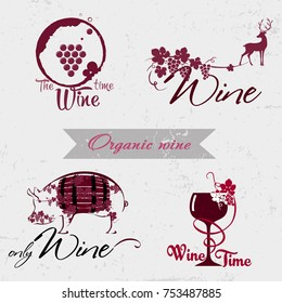 Wine logo concept Quality logos in vector for wine industry. Set of badges and labels elements for wine. Can be used for companies which produce natural organic wine, to identify the brand graphics.