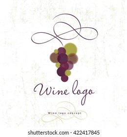 Wine logo concept. Wine store or restaurant logo. Grapes and curl isolated, on light background