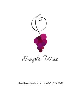 Wine logo concept. Wine store or restaurant logo, Grapes and curl isolated, on white background