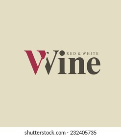 Wine logo design idea with bottle in negative space. Typography concept for vineyard. Abstract winery sign. Vector template.