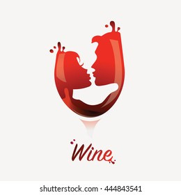 Wine logo with kissing couple.