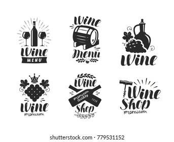 Wine logo or label. Winery, drink symbol. Typographic design vector illustration
