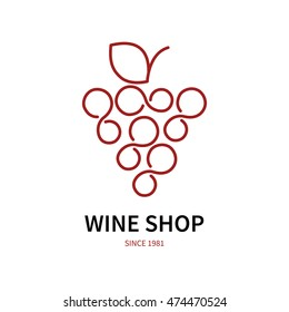 wine logo or label for wine and winery. Wine logo with grape. Vector logo.