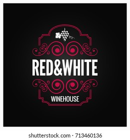 wine logo red and white label design background