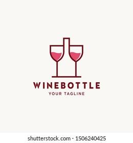 wine logo simple monoline icon