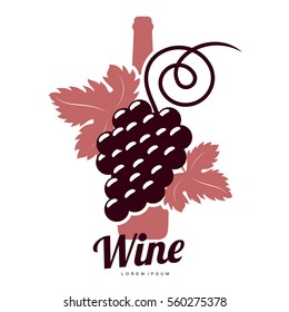Wine logo templates. Bottle, glass, bunch of grapes. Vintage style wine badges and labels. Black and white logo templates for your design. Vector illustration isolated on white background.