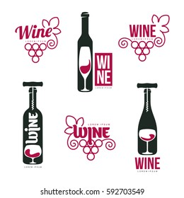 Wine logo templates for your design. Bottle, glass, bunch of grapes. Wine badges, labels. banners, advertisements, brochures, business templates. Vector illustration isolated on white background.