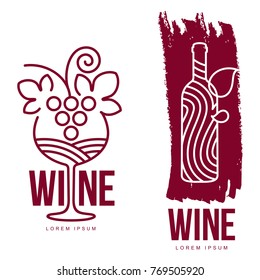 Wine logo templates for your design. Bottle, glass, bunch of grapes. Wine badges, labels. banners, advertisements, brochures, business templates. Vector illustration isolated on white background