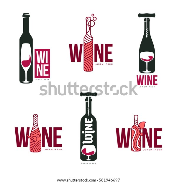 Wine logo templates for your design. Bottle, glass, bunch of grapes. Vector illustration isolated on white background.